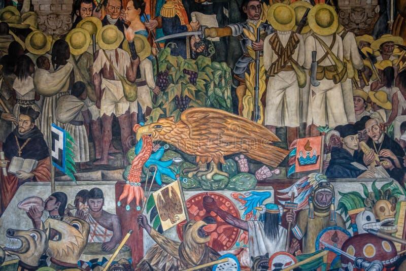 Detalj av väggmålningen historien av Mexico av Diego Rivera på den nationella slotten - Mexico - stad, Mexico royaltyfria bilder