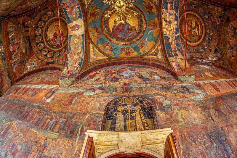 Detalj av yttre frescoes på det rumänska ortodoxa patriark- royaltyfria bilder