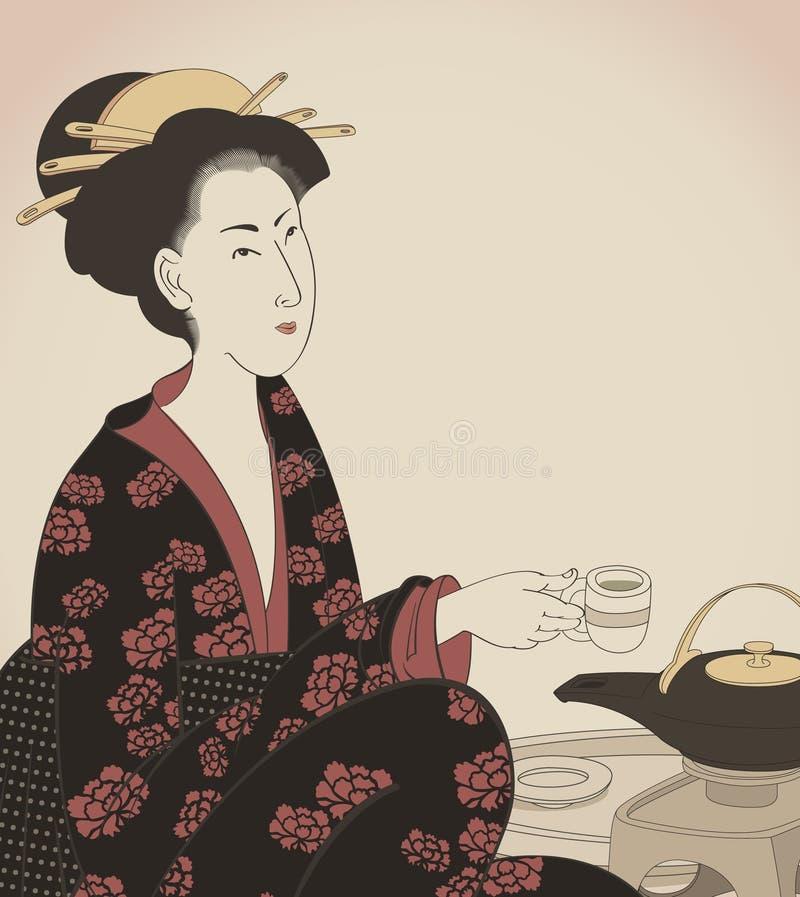 detalj dra som dricker den japanska stilteakvinnan stock illustrationer