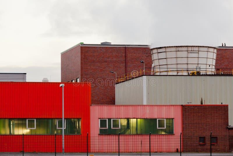 detalj för Avfalls-till-energi växtOberhausen Tyskland arkivfoto