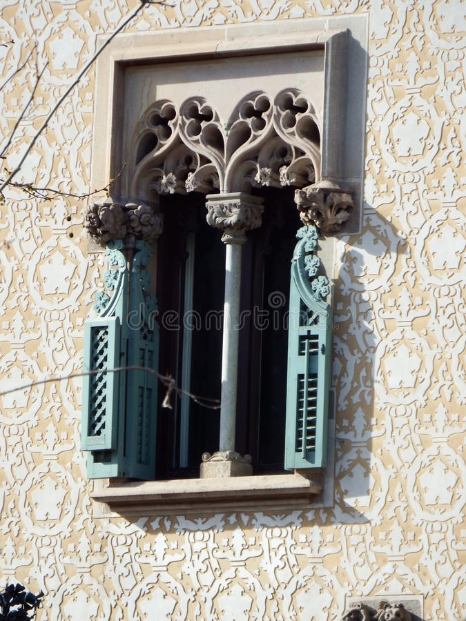 Detalj för CasaAmatller fönster royaltyfri foto