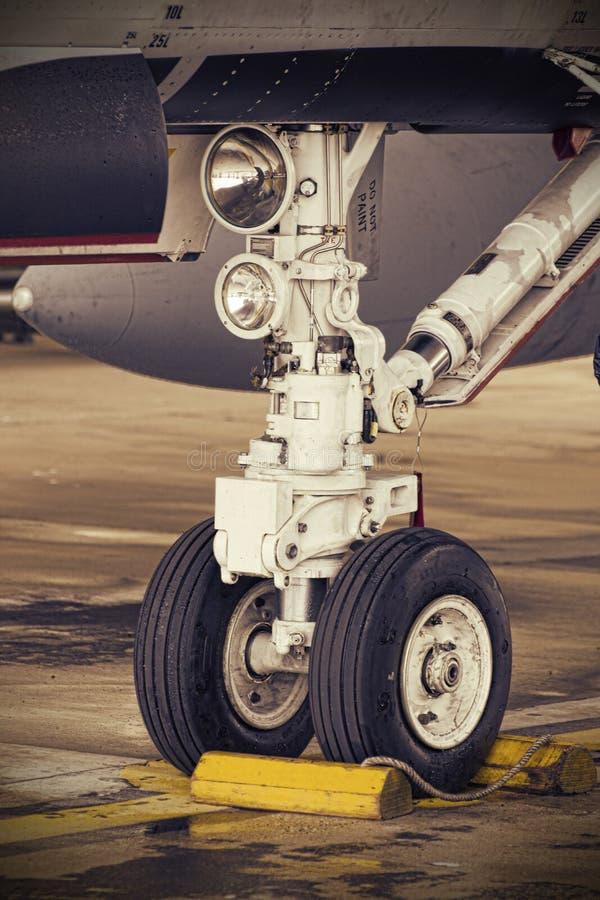 Detalj för Nosewheel F18 royaltyfri bild