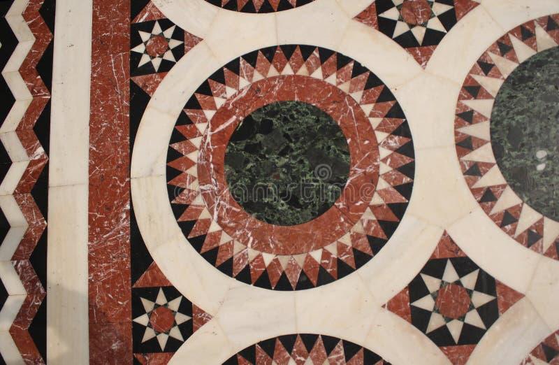Detalj från golvmosaik i kyrkan av den heliga griften, Kristus gravvalv, i den gamla staden av Jerusalem, Israel royaltyfria foton