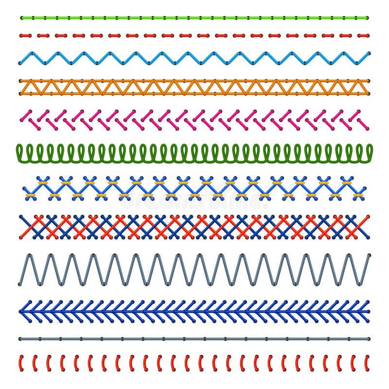 Detalj sydde sömlösa modeller Färgsömnadsömmar Textur för vektor för broderitorkdukekant stock illustrationer