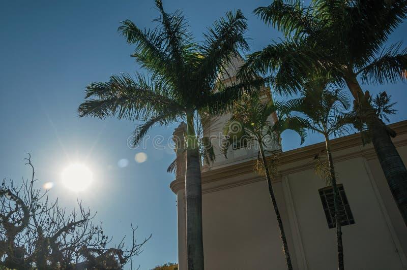 Detaljen av den kyrkliga sidan med kyrktorn, palmträd och evergreen arbeta i trädgården, i en ljus solig dag på São Manuel arkivfoto