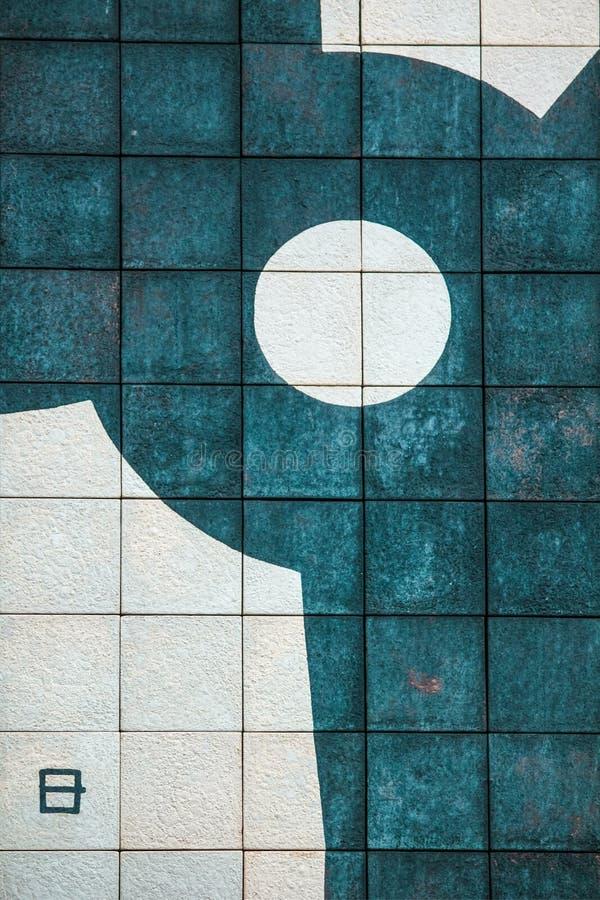 Detaljen av en geometrisk väggmålning arkivfoton