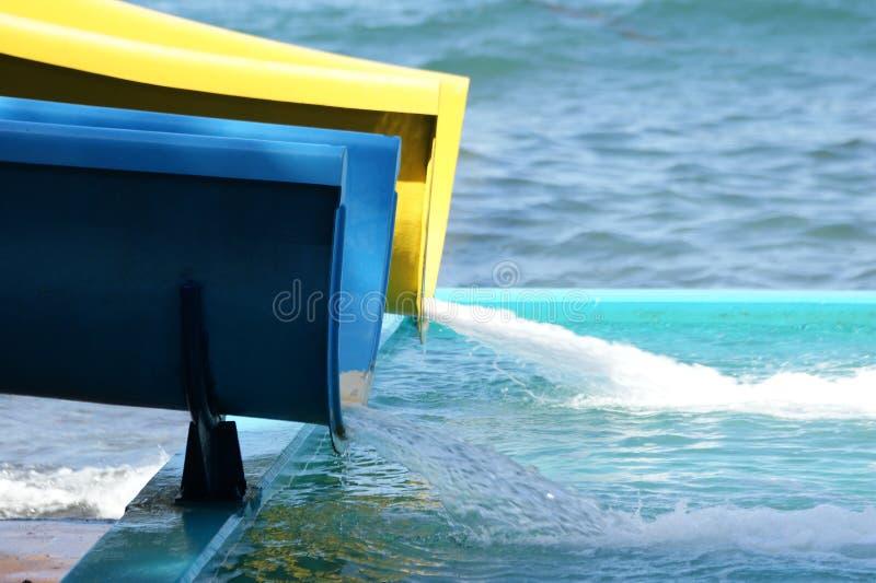 Detaljen av vatten parkerar dragningar (glidbanan) arkivbild