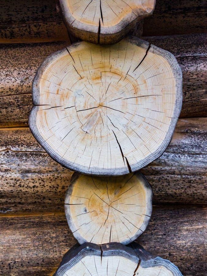 Detaljen för journalkabinen, tvärsnitt av loggar in kabinyttersida arkivbild