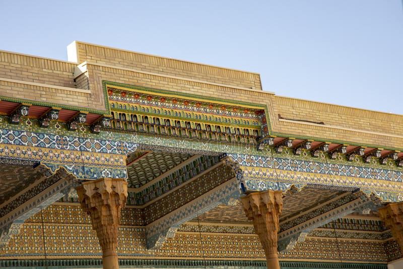 Detaljer av arkitektur, mausoleum av Bahouddin Nakshband i Bu fotografering för bildbyråer