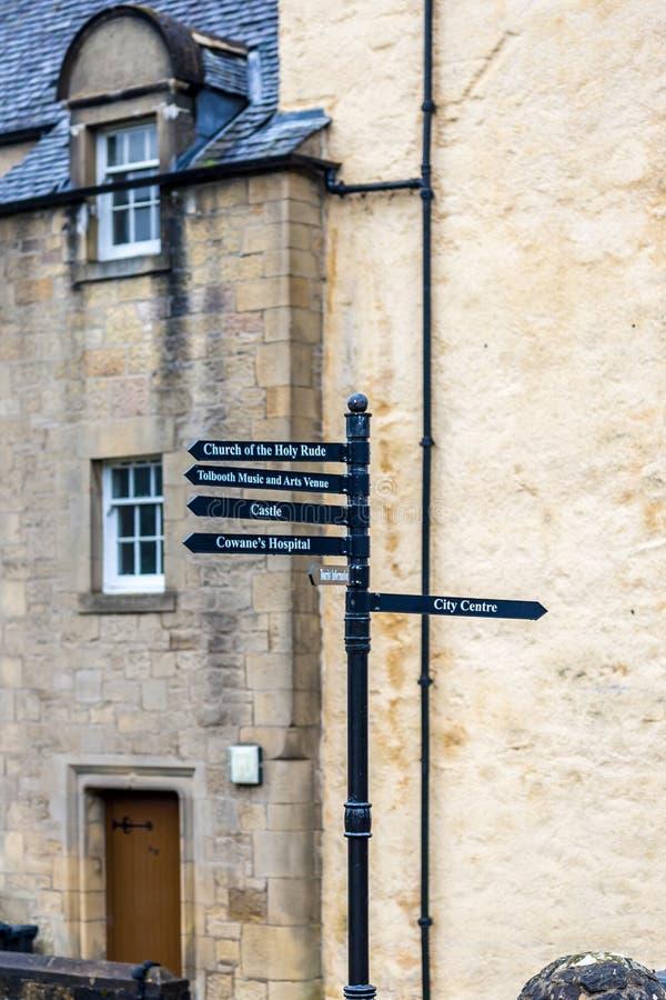 Detaljer av den gamla gotiska mitten av Stirling, Skottland arkivfoto
