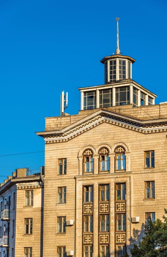 Detaljer av en sovjetisk byggnad i Chisinau arkivfoto