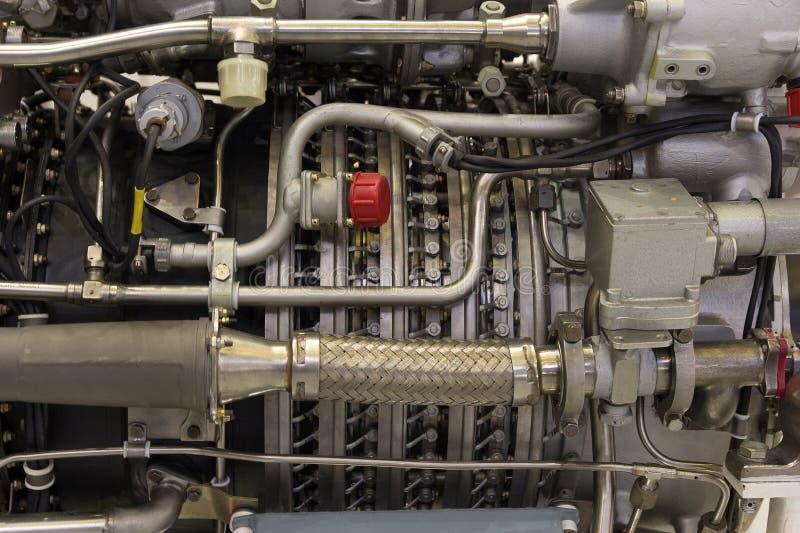 Detaljer av flygplanmotorn på ställningen royaltyfria bilder