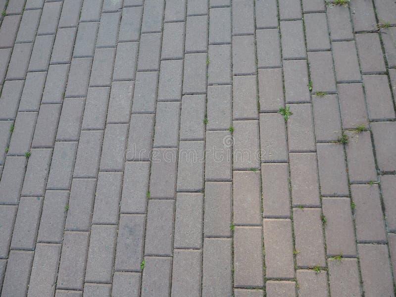 Detaljer av grå tegelsten stenar trottoar på gatavägen arkivbilder