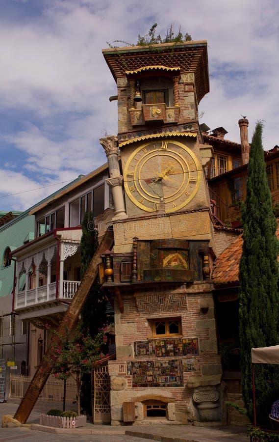 Detaljer av jugendstilfasader och byggnadsdekor i Tbilisi royaltyfria foton