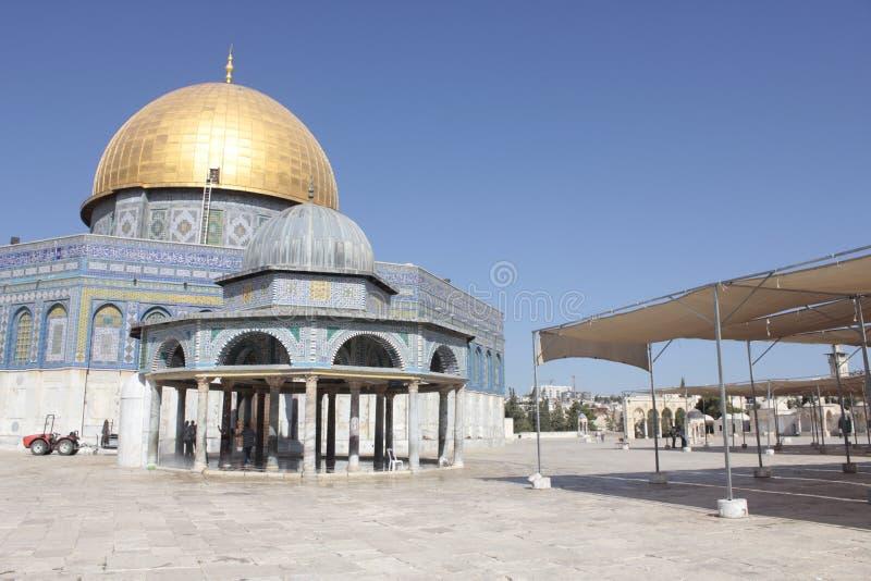 Detaljer av kupolen av vaggar i tempelmonteringen i Jerusalem arkivfoto