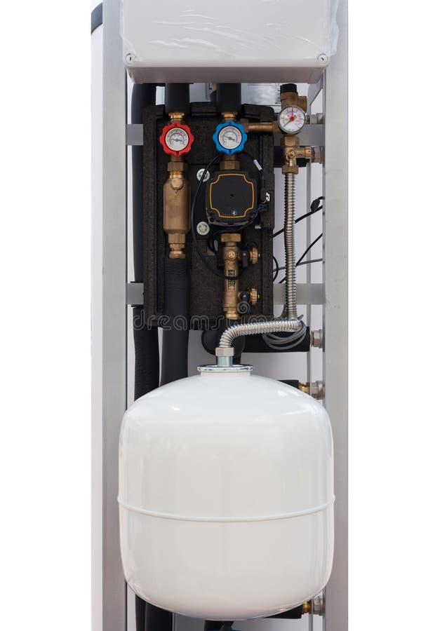 Detaljer i bostads- indirekt elektriskt vatten Heater Tank arkivbild
