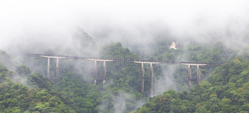Detaljer om Imigrantes Highway på en foggy Day, Sao Paulo, Brasilien arkivbilder