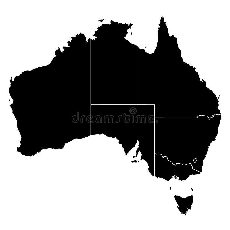 Detaljerad översikt av Australien vektor illustrationer