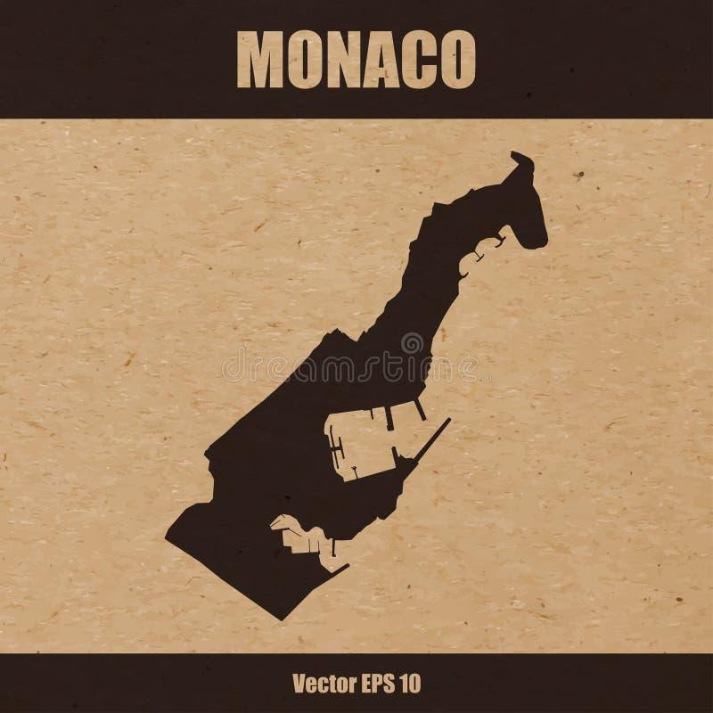 Detaljerad översikt av Monaco på hantverkpappersbakgrund royaltyfri illustrationer