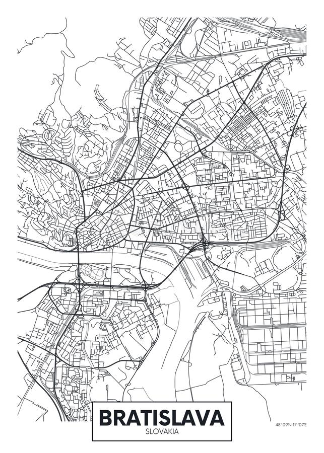 Detaljerad översikt Bratislava för vektoraffischstad stock illustrationer