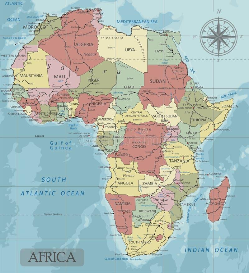 Detaljerad Afrika politisk översikt i Mercator projektion royaltyfri illustrationer