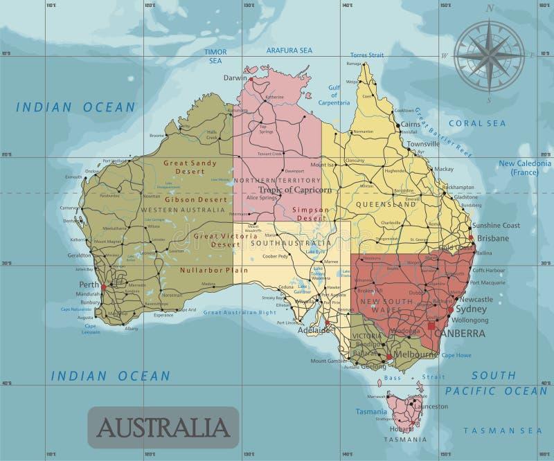 Detaljerad Australien politisk översikt i Mercator projektion Klart märkt Avskilda lager vektor illustrationer