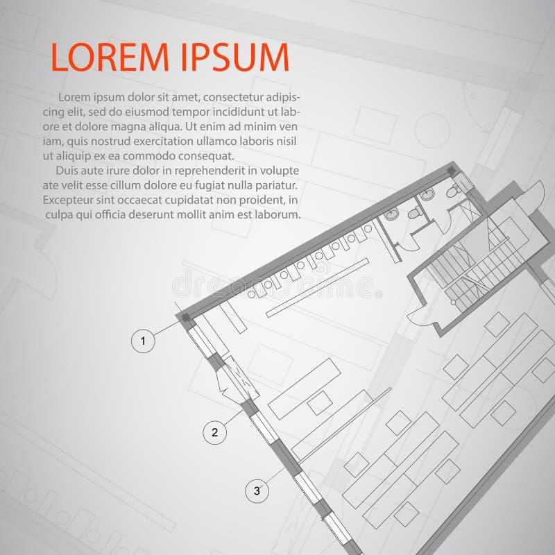 Detaljerad design för arkitektoniskt plan Begreppsmässigt arbete av huset stock illustrationer