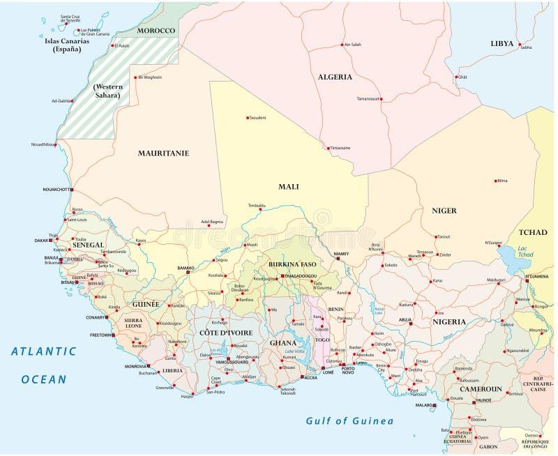 Detaljerad färdplan av länderna av Västafrika med huvudstad c vektor illustrationer