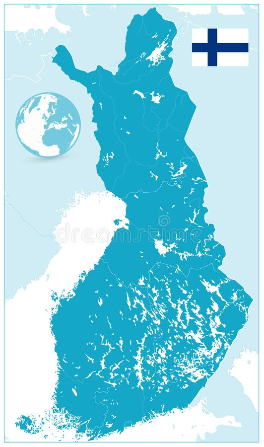 Detaljerad Finland översikt ingen text royaltyfri illustrationer