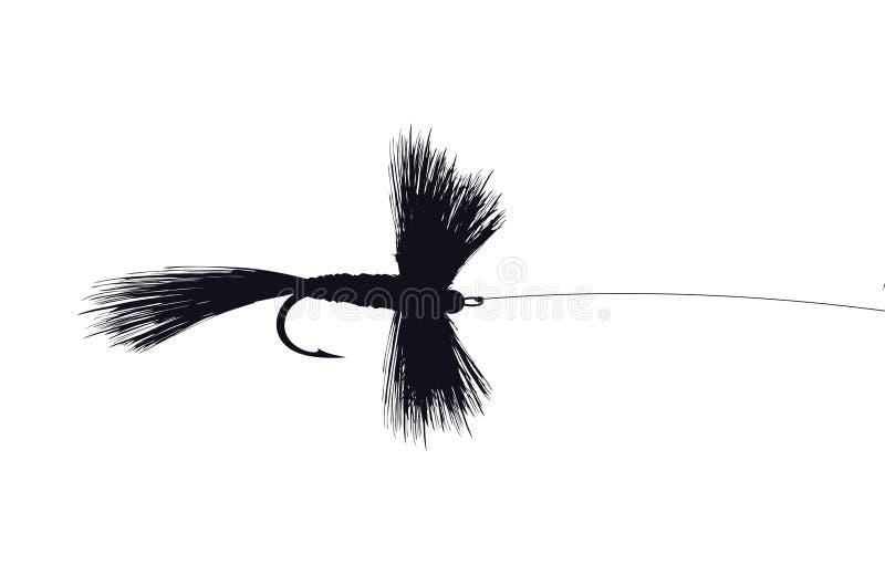 detaljerad fiskefluga stock illustrationer