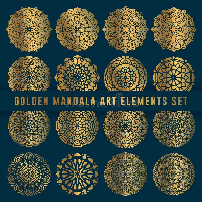 Detaljerad guld- beståndsdel för mandalakonstuppsättning Tappningmandalakonst med den rundade blom- abstrakta prydnaden Mandalamo royaltyfri illustrationer