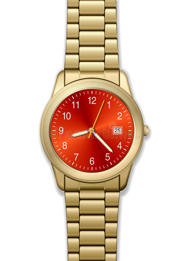 detaljerad guld- hög watch vektor illustrationer