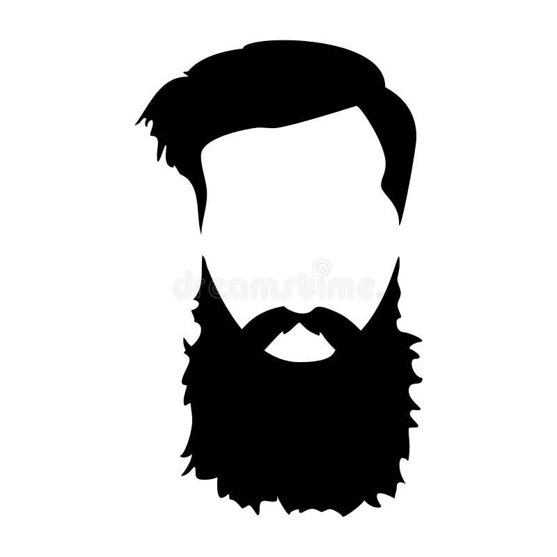 Detaljerad hår för Hipster och skägguppsättning Skäggig man för mode Långt skägg med ansikts- hår royaltyfri illustrationer