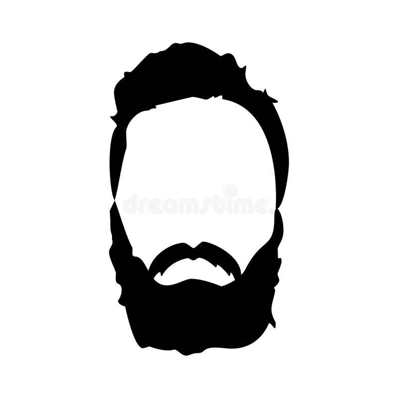 Detaljerad hår för Hipster och skägguppsättning Skäggig man för mode Långt skägg med ansiktsbehandlingen bakgrund isolerad white stock illustrationer