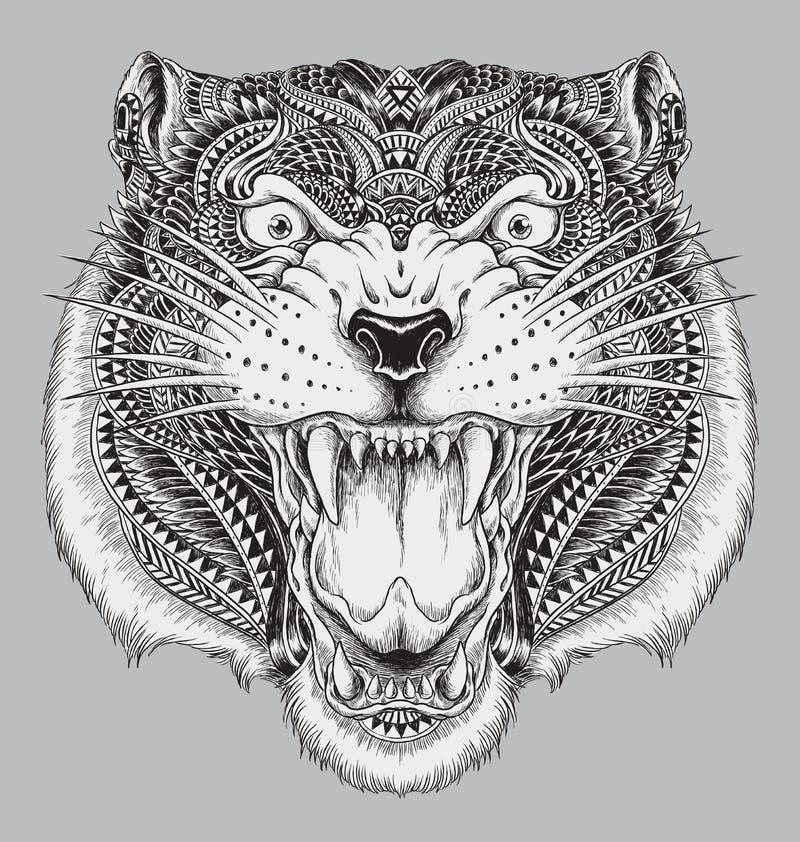 Detaljerad hand dragen abstrakt tiger stock illustrationer