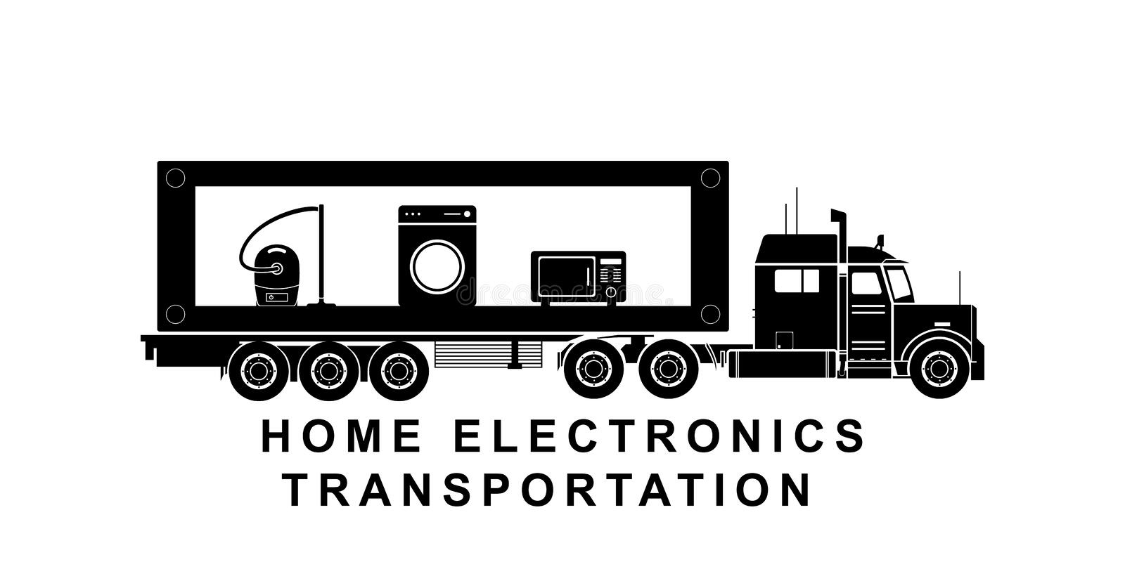 Detaljerad hem- elektronik som transporterar lastbilillustrationen stock illustrationer