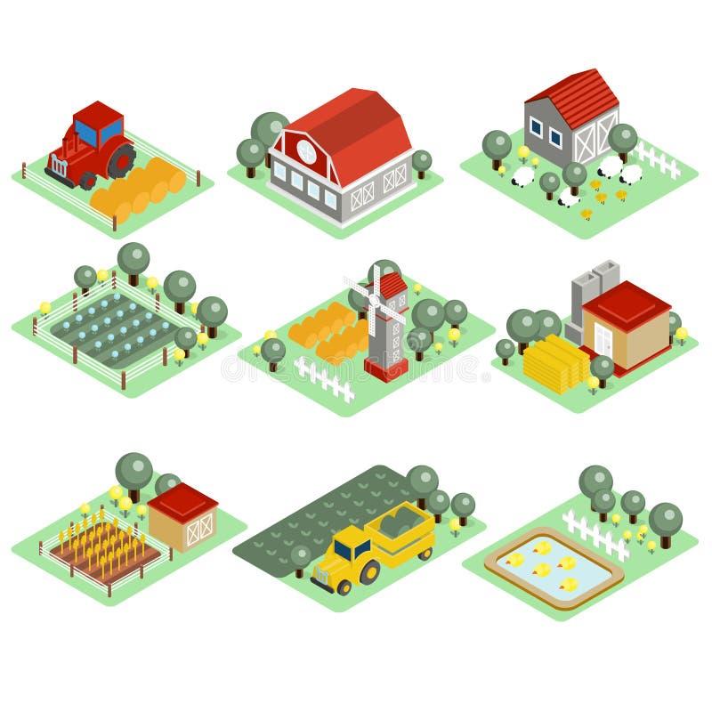 Detaljerad illustration av en isometrisk lantgård royaltyfri illustrationer