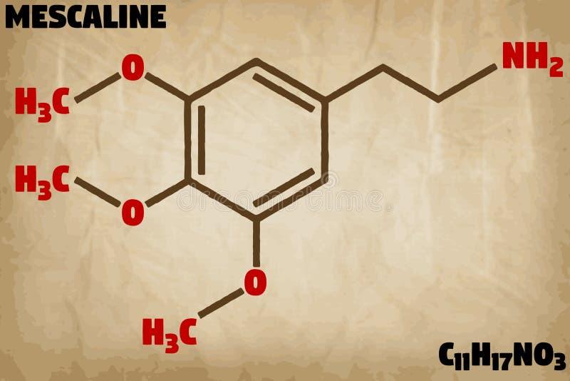 Detaljerad illustration av molekylen av Mescaline royaltyfri illustrationer