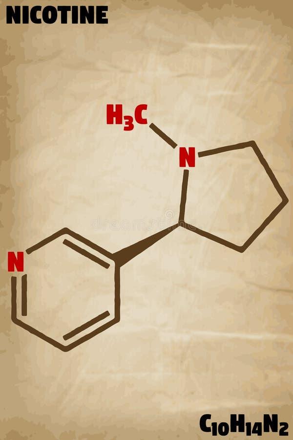 Detaljerad illustration av molekylen av nikotin vektor illustrationer