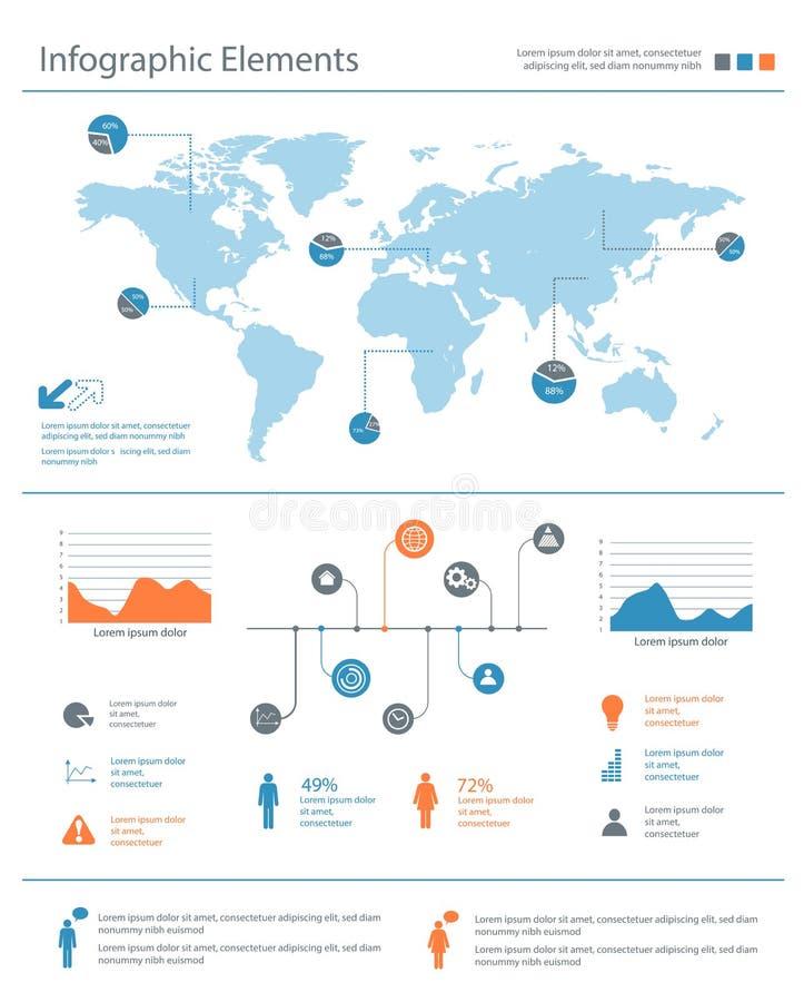 Detaljerad infographic beståndsdeluppsättning med världskartadiagram och ch royaltyfri illustrationer