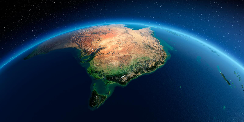 Detaljerad jord Australien och Tasmanien stock illustrationer