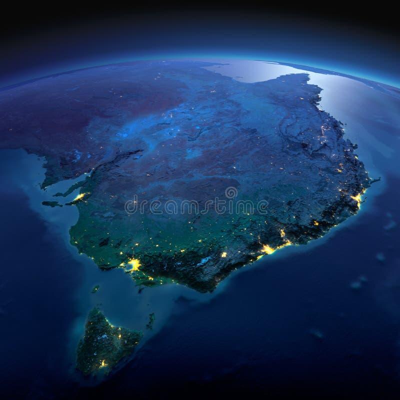 Detaljerad jord Australien och Tasmanien på en månbelyst natt vektor illustrationer