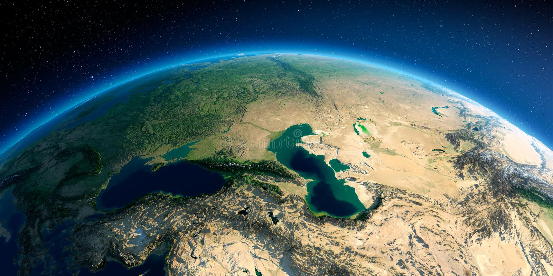 Detaljerad jord caucasus stock illustrationer
