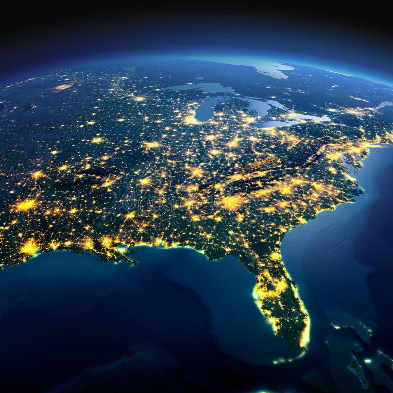 Detaljerad jord det Amerika bildspråk planerar nasa-nord USA Golf av den Mexico och Florida nollan royaltyfri illustrationer