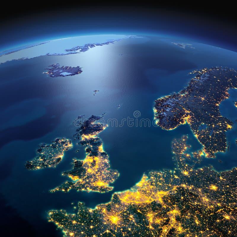 Detaljerad jord F?renade kungariket och Nordsj? p? en m?nbelyst natt royaltyfria bilder