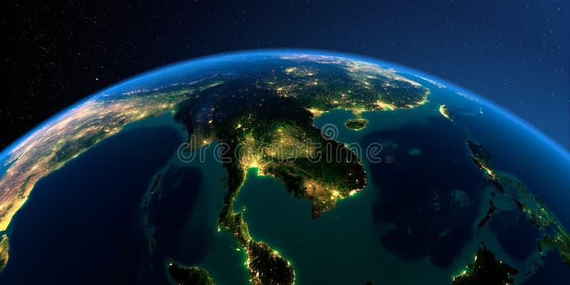 Detaljerad jord Indokina halv? p? en m?nbelyst natt vektor illustrationer
