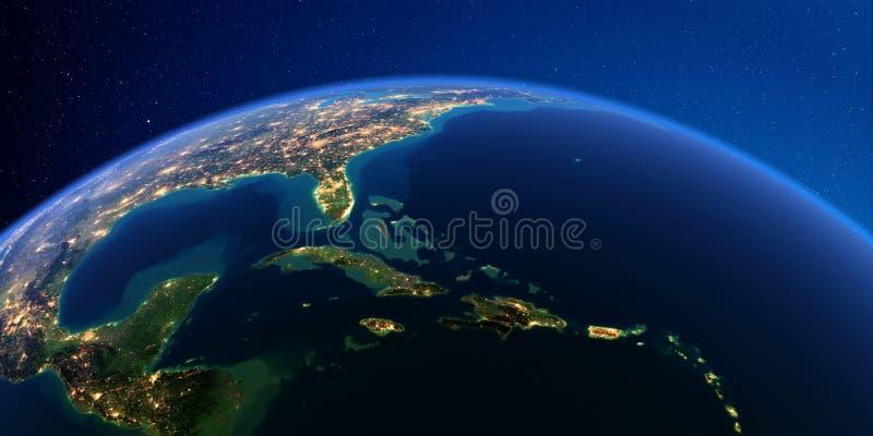 Detaljerad jord på natten karibiska ?ar Kuba Haiti, Jamaica stock illustrationer