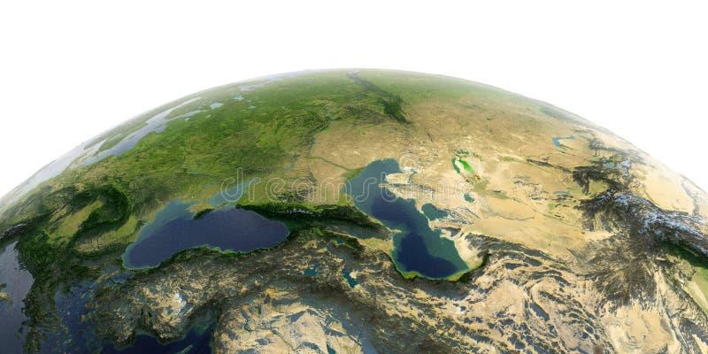 Detaljerad jord på vit bakgrund caucasus stock illustrationer