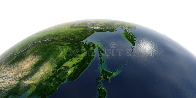 Detaljerad jord på vit bakgrund Ryska Far East, havet av Okhotsk royaltyfri illustrationer
