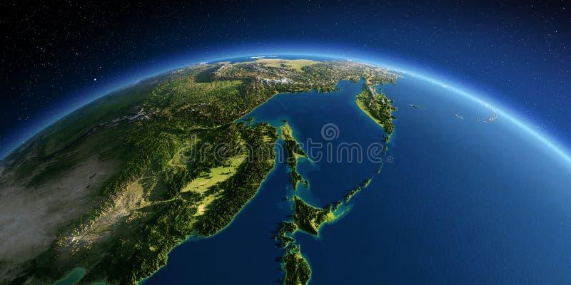 Detaljerad jord Ryska Far East, havet av Okhotsk stock illustrationer